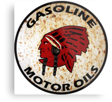 Red Indian Gasoline vintage sign reproduction rusted vers. Metal Print