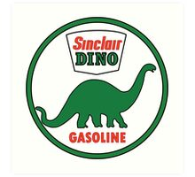 Sinclair Dino Gasoline vintage sign flat version Art Print