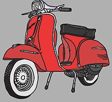 Vespa Illustration - Red by thyearlofgrey