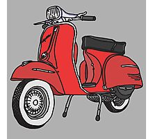 Vespa Illustration - Red Photographic Print