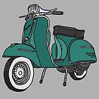 Vespa Illustration - Teal by thyearlofgrey