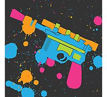 Han Solo Blaster Paint Splatter (Full Color) Photographic Print