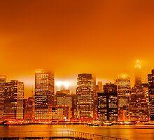 Under A Blood Red Sky - New York Skyline by AlexFHiemstra