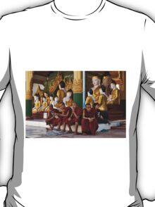 faithful Buddhist monks sitting around Buddha Statues in SHWEDAGON PAGODA T-Shirt