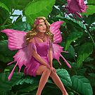 Pink pretty Fairy on leaf with pink Butterfly by martyee