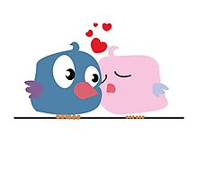 Two cartoon birds kissing Photographic Print