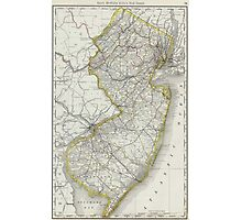 Vintage Map of New Jersey (1889) Photographic Print