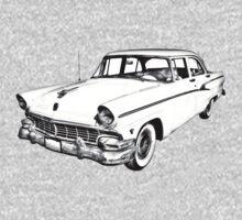 1956 Ford Custom Line Antique Car Illustration Kids Clothes