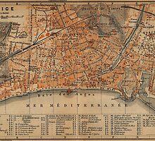Vintage Map of Nice France (1914) by BravuraMedia