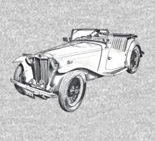 MG Convertible Antique Car Illustration Kids Clothes