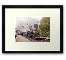 "Double headed Stanier ""Black Five"" locomotives thunder through Hindley station Framed Print"