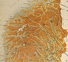 Vintage Map of Norway (1914) by BravuraMedia
