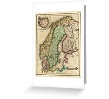 Vintage Map of Norway and Sweden (1831) Greeting Card