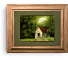 Country Church, version 1 ... with a rice paper impression, in a matted and framed look Canvas Print