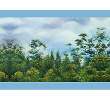 'Taranaki Foothills' border - blue by Marie-Claire Colyer