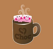 cute hot chocolate with marshmallows by jazzydevil
