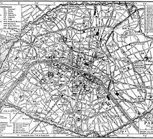 Vintage Map of Paris (1911) by BravuraMedia