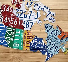 License Plate Map of Canada Art - Natural Stain by Route401