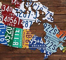 Map of Canada License Plate Rustic Art - Reclaimed Wood by Route401