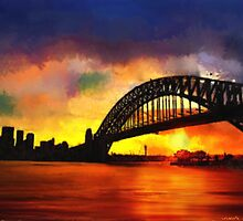 Sydney Harbour Australia Impressionist Sunset Art by druidwolfart