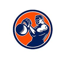 Bodybuilder Lifting Kettlebell Woodcut by retrovectors