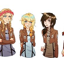attack on tiatan with girly flower crown by Aysha121