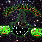 Halloween Pumpkins on an image of the Universe. by Dennis Melling