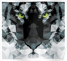 Geometric polygon white tiger head, triangle pattern design Poster