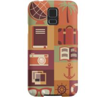 Collection of flat vintage retro travel icons, flat design Samsung Galaxy Case/Skin