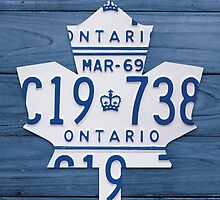 Toronto Maple Leafs Decor License Plate Print - Blue Stain by Route401