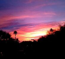 SUNRISE OVER THE DESERT WITH GOLDEN SKY by JAYMILO