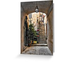 Stairway with Potted Flowers -- Orvieto, Italy Greeting Card
