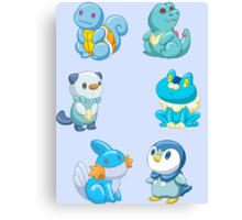 Pokemon Starters - Water Types Canvas Print