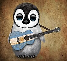 Baby Penguin Playing Argentinian Flag Guitar by Jeff Bartels