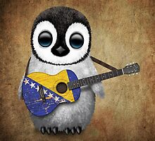 Baby Penguin Playing Bosnia-Herzegovina Flag Guitar by Jeff Bartels