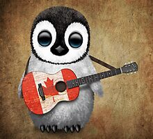 Baby Penguin Playing Canadian Flag Guitar by Jeff Bartels