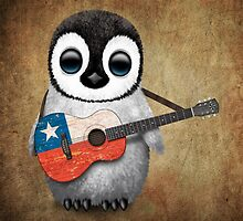 Baby Penguin Playing Chilean Flag Guitar by Jeff Bartels