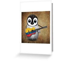 Baby Penguin Playing Colombian Flag Guitar Greeting Card