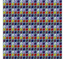 Tiled Open Roses, Red, White, Black, Blue, Pink, Purple Photographic Print