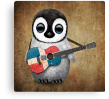 Baby Penguin Playing Dominican Republic Flag Guitar Canvas Print