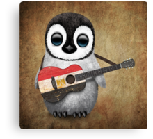 Baby Penguin Playing Egyptian Flag Guitar Canvas Print