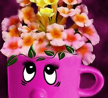 FLOWERS IN A CUP WITH A SMILE - PICTURE & OR CARD by ╰⊰✿ℒᵒᶹᵉ Bonita✿⊱╮ Lalonde✿⊱╮