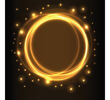Abstract background, yellow glowing circles Photographic Print