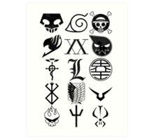 Anime Logos Black Art Print