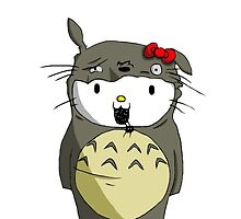 Kitty dress up Totoro by LTEP