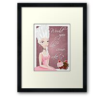 Poster with queen Marie Antoinette and cakes Framed Print