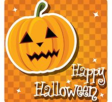 Happy Halloween card with pumpkin by BlueLela
