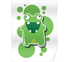Card with cute colorful monster Poster