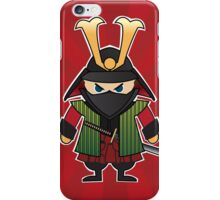 Samurai cartoon illustration on red sunburst background iPhone Case/Skin
