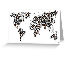 World map in animal print design, leopard pattern Greeting Card